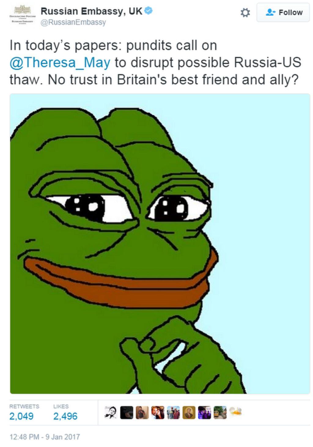 russia taunts british pm with cartoon frog tweet bbc news