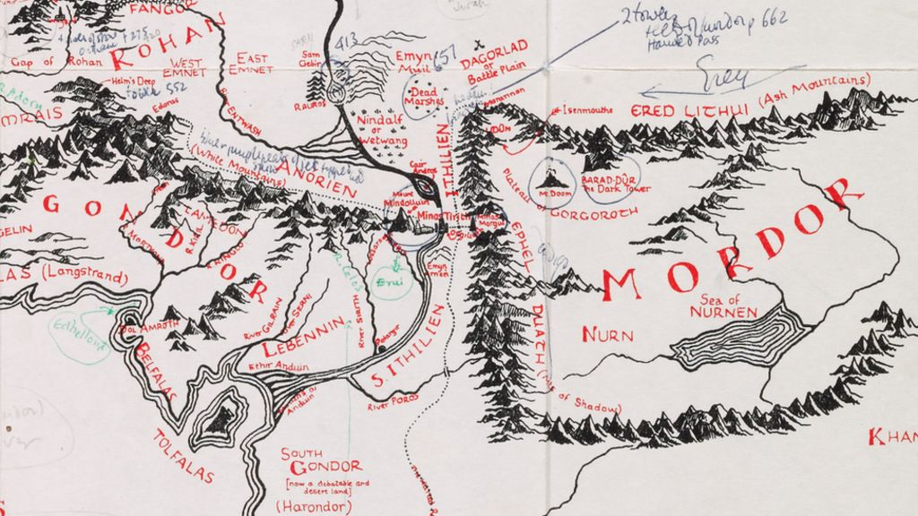 JRR Tolkien s annotated Middle earth map at Bodleian BBC News