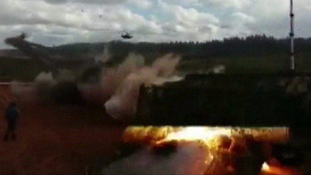 Russian army rocket 'hits spectators'