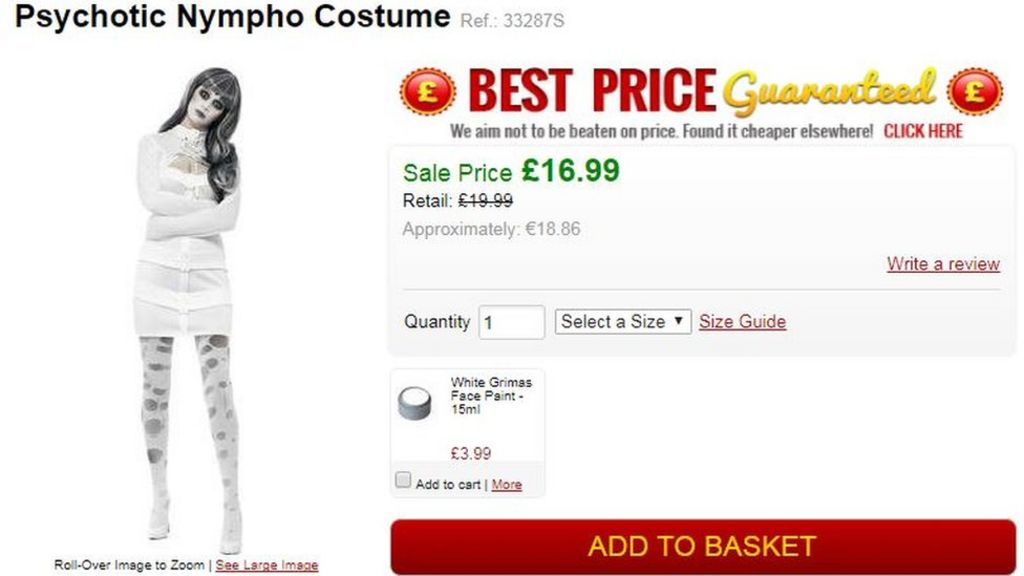 'Psychotic nympho' Halloween outfit criticised by psychiatrists