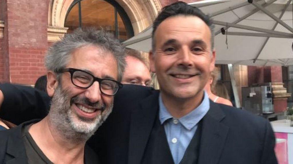 Rob Newman and David Baddiel reunite at party
