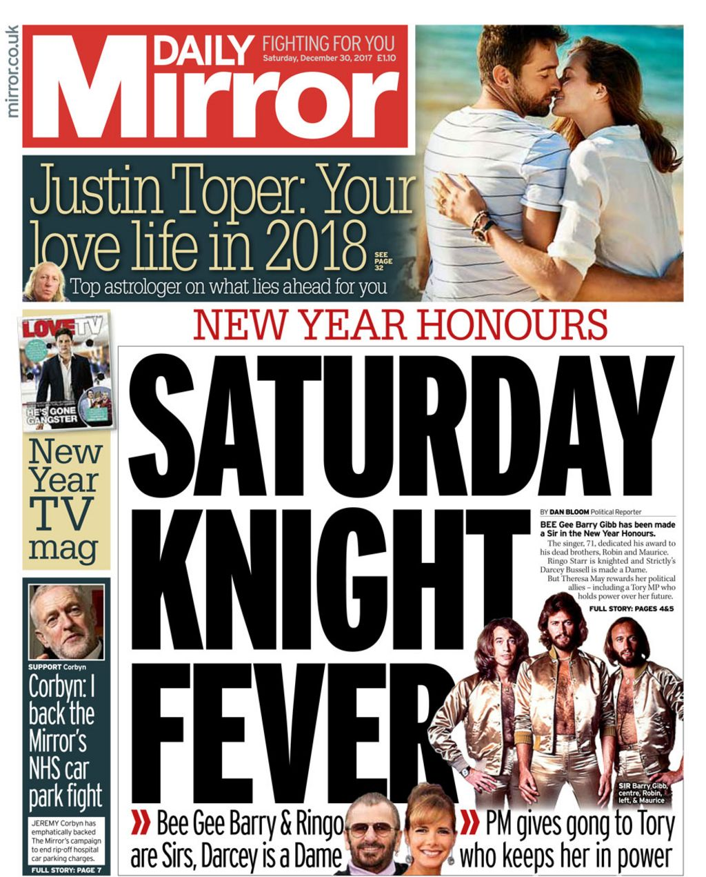 Newspaper Headlines: It's 'Saturday Knight Fever' As New