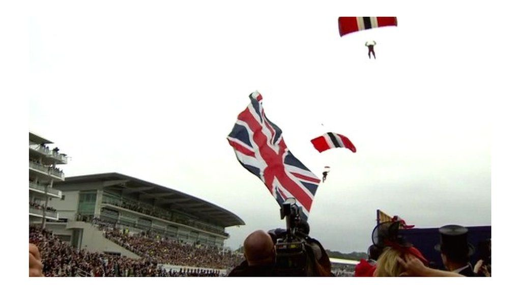 Diamond jubilee skydivers land at epsom race course bbc for 2b cuisine epsom downs