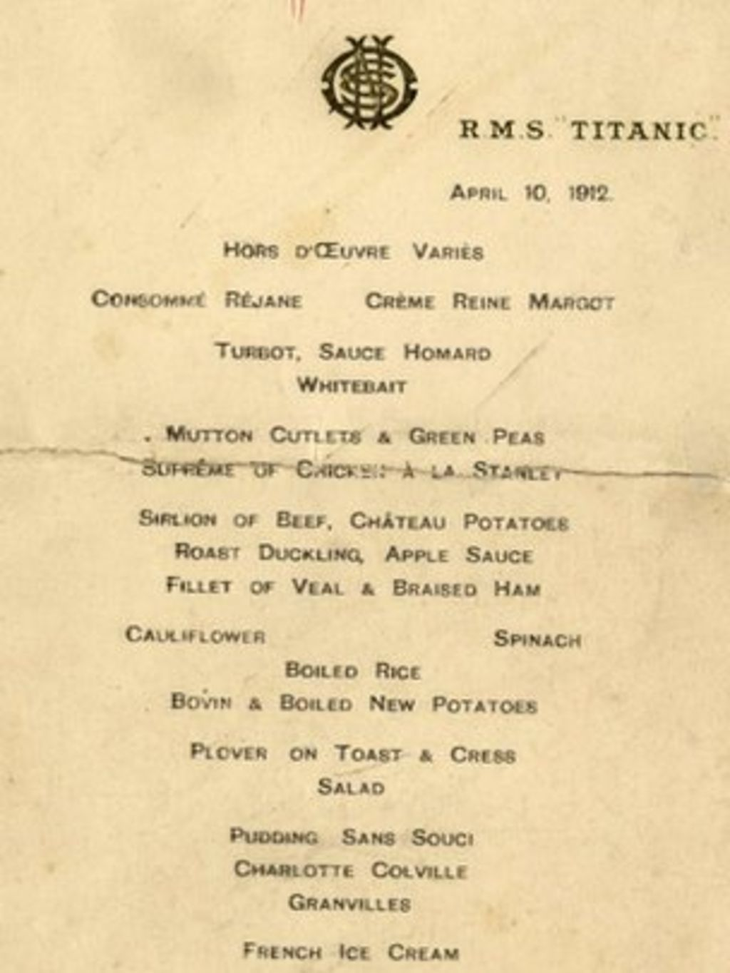Titanic menu sells for £46,000 at auction - BBC News