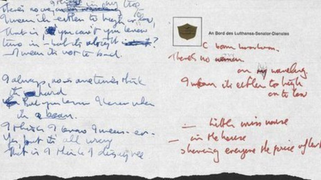 Lyric lyrics to strawberry letter 22 : Lennon lyrics donated to British Library for tax relief - BBC News