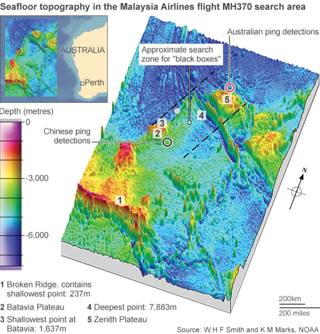 Ocean Floor Elevation Map : The search for flight mh bbc news