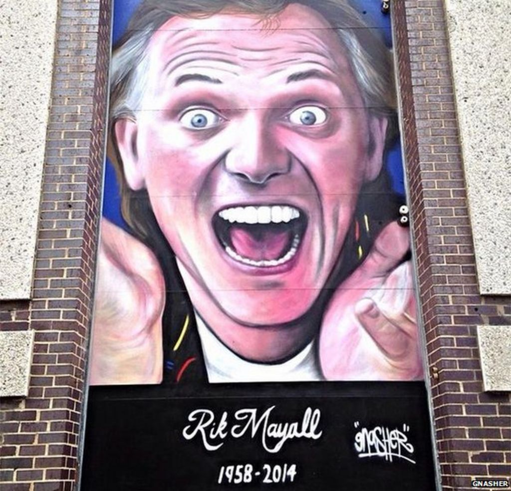 Rik Mayall tribute mural painted on Harlow Playhouse - BBC ...
