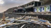 Damaged Cromer beach huts