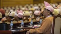 Lower House parlimentary members from the National League for Demorcracy await the proposal of presidential nominations on March 10, 2016 in Naypyidaw, Burma.