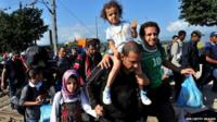 Processing refugees on the Greece-Macedonia border