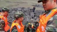 Rescue team on mountain