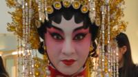A Cantonese opera singer backstage in Hong Kong, February 2015