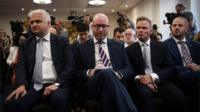 Paul Nuttall, centre, with MEP Patrick O'Flynn and deputy leader Peter Whittle