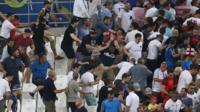 Russian and English fans clash in the stands at the Stade Velodrome, Marseille, 11 June 2016