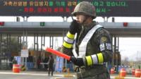 A South Korean military policeman on the Military Demarcation Line
