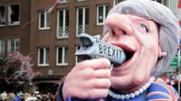 A float referring to British Prime Minister May and Brexit in Gemany