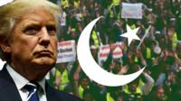 Composite image of Trump, a Pakistan flag and protesters