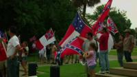 Supporters displaying the Confederate flag