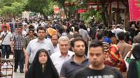 crowds in Tehran