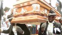 Dancing pallbearers are lifting the mood at funerals in Ghana with flamboyant coffin-carrying displays.