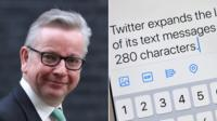 Michael Gove and image of Twitter feed