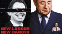 Posters of Tony Blair, Alex Salmond and Ed Miliband