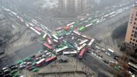 Arial view of city traffic in China