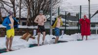 Swimming in the snow in Ullapool.