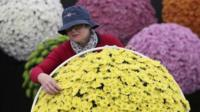 Lady arranging flowers at Chelsea Flower Show
