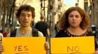 Yes and no voters in Catalonia referendum