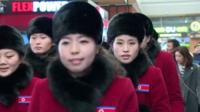 North Korean cheerleaders arrive in the South