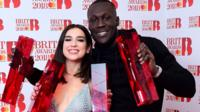 Stormzy and Dua Lipa with their Brit Awards