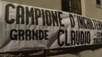 Ranieri banner hung outside a Roma supporter's club
