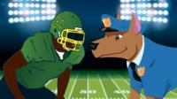 Animation of American football player and dog