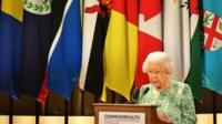 Queen Elizabeth II speaking at Commonwealth Heads of Government Meeting in London