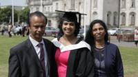 Vithiya Alphons with her parents