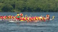 Dragonboats on the reservoir