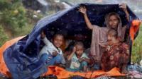 Rohingyas in camp in Cox's Bazaar