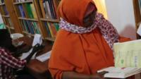 Safiyo Jama Gayre at Puntland University library in Somalia