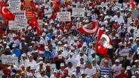 Supporters of Turkey's main opposition Republican People's Party (CHP) walk during the 22nd day of a protest