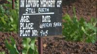 Grave marker for stillborn infant