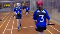 St Patrick's College pupils playing hurling
