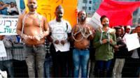 Migrants protesting in Tel Aviv
