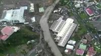 Aerial footage of devastation caused by Hurricane Maria in Dominica