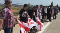 Georgian human chain protest near South Ossetia