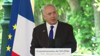 "Speaking in France, the Israeli prime minister says militants seek to destroy ""anyone that stands in their way""."