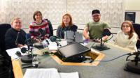 Presenters and guests in the studio after recording this month's Ouch programme