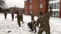 British military having fun in the snow