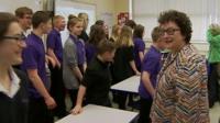 Elin Jones and pupils at her old school