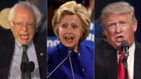 Sanders, Clinton and Trump
